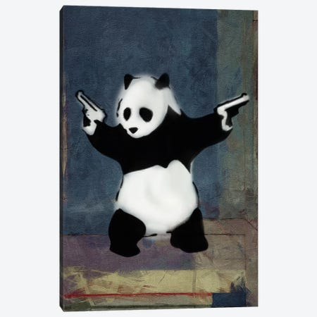 Panda with Guns Blue Square Canvas Print #2075D} by Banksy Canvas Art Print