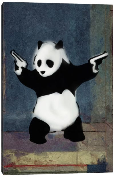 Panda with Guns Blue Square Canvas Art Print