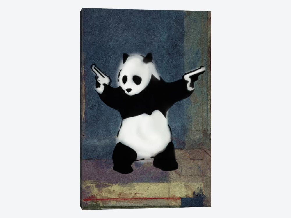 Panda with Guns Blue Square by Unknown Artist 1-piece Canvas Artwork