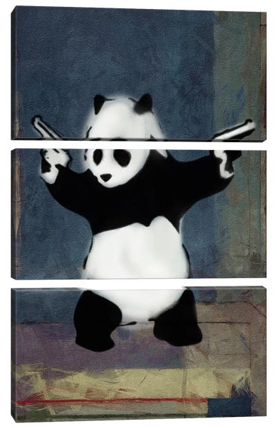 Panda with Guns Blue Square by Banksy Canvas Art Print