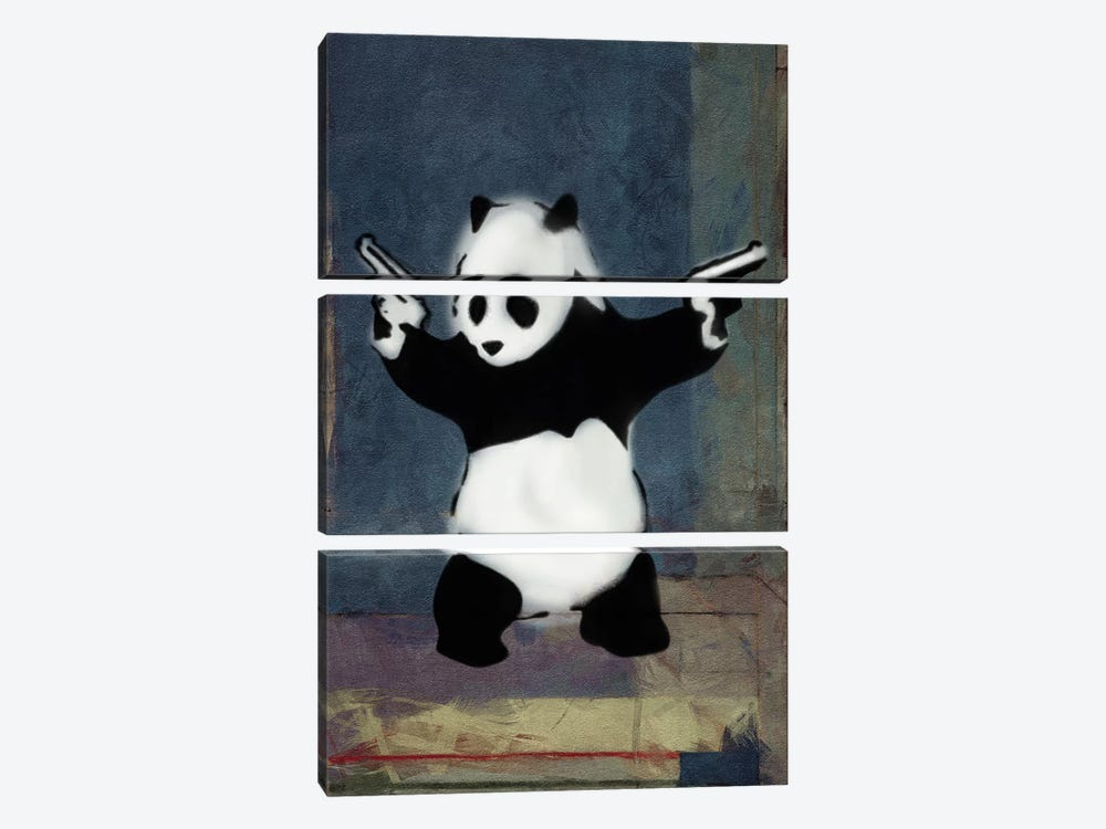 Panda with Guns Blue Square by Unknown Artist 3-piece Canvas Wall Art