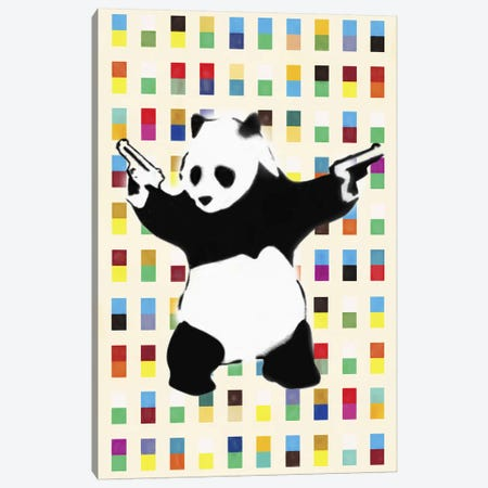Panda with Guns Bright Dots Canvas Print #2075E} by Unknown Artist Art Print