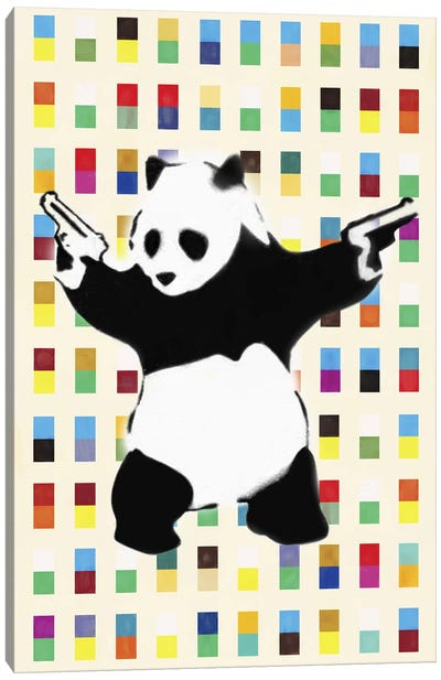 Panda with Guns Bright Dots Canvas Art Print