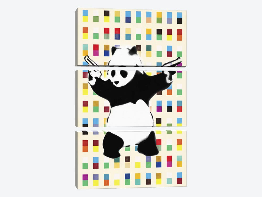 Panda with Guns Bright Dots by Unknown Artist 3-piece Art Print