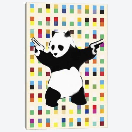 Panda with Guns Bright Dots Canvas Print #2075E} by Unknown Artist Art Print