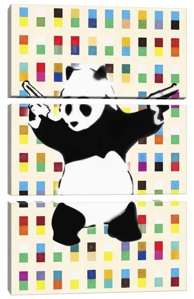 Panda with Guns Bright Dots Canvas Art Print