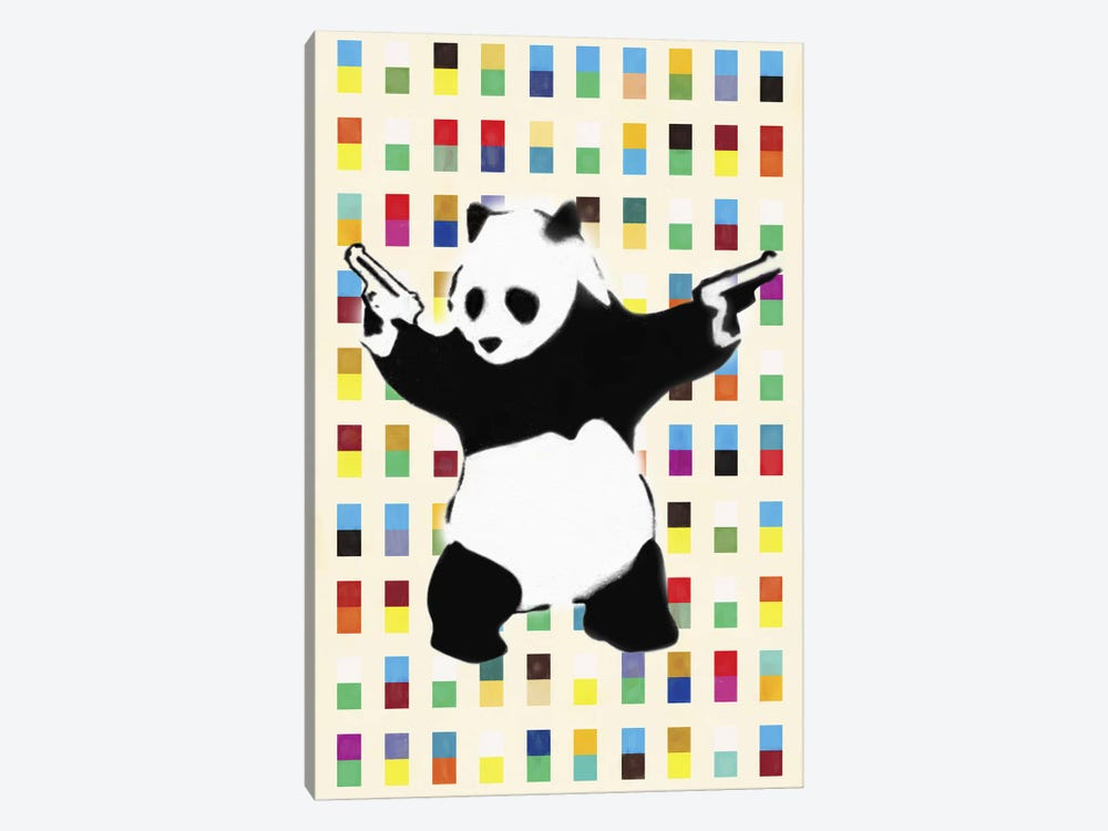 Panda with Guns Bright Dots by Unknown Artist 1-piece Canvas Print