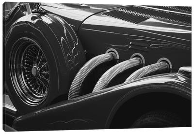 Black And White Vintage Car Canvas Art Print
