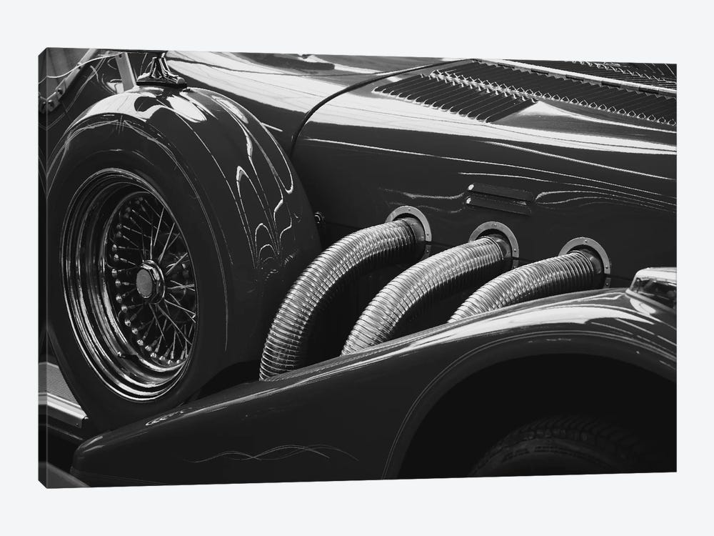 black and white vintage car 1 piece canvas wall art