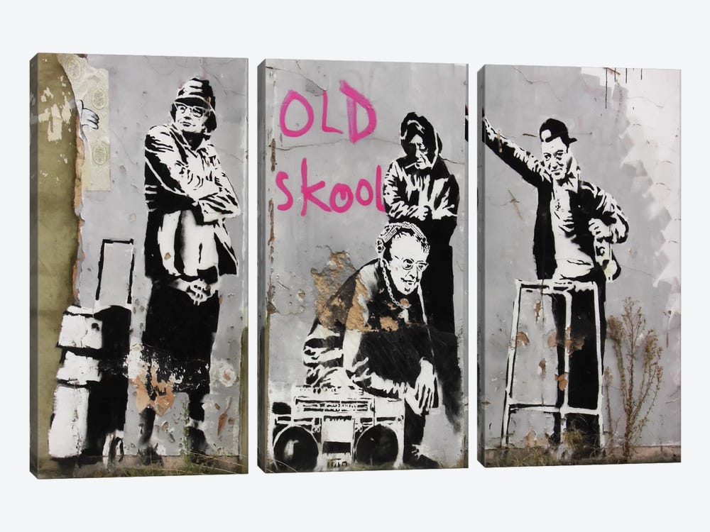 Old Skool by Banksy 3-piece Canvas Print