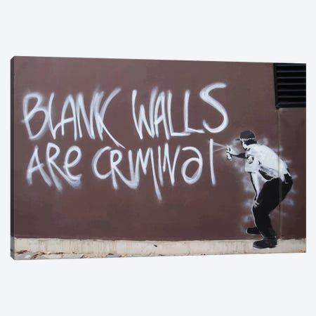 Blank Walls Are Criminal Canvas Print #2173} by Banksy Canvas Wall Art