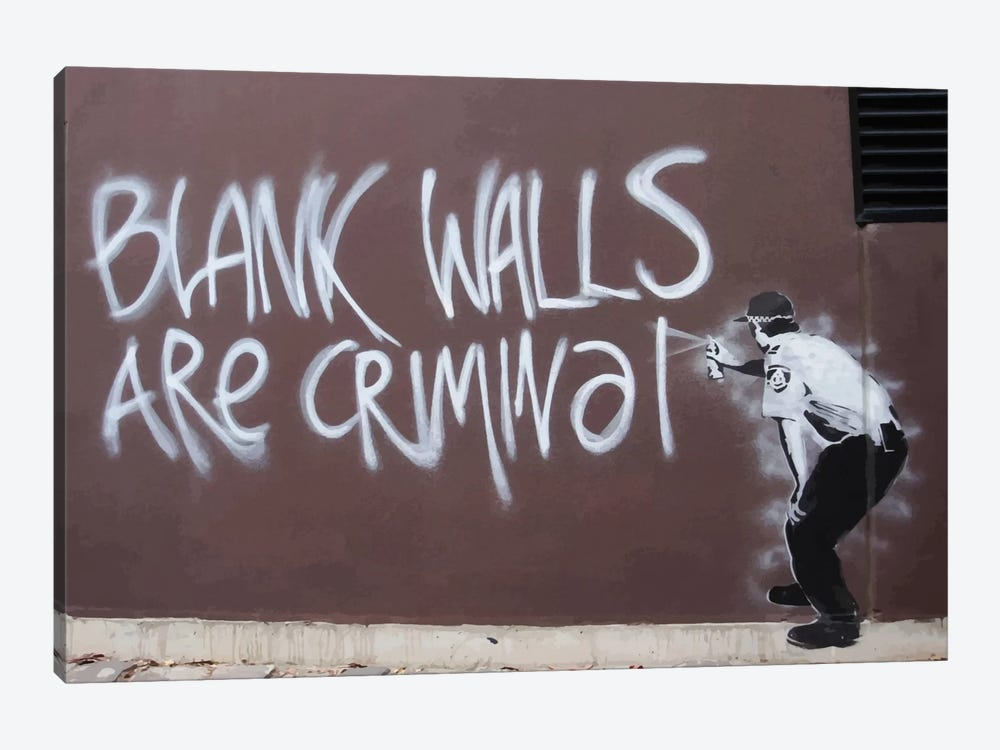 Blank Walls Are Criminal by Unknown Artist 1-piece Canvas Print