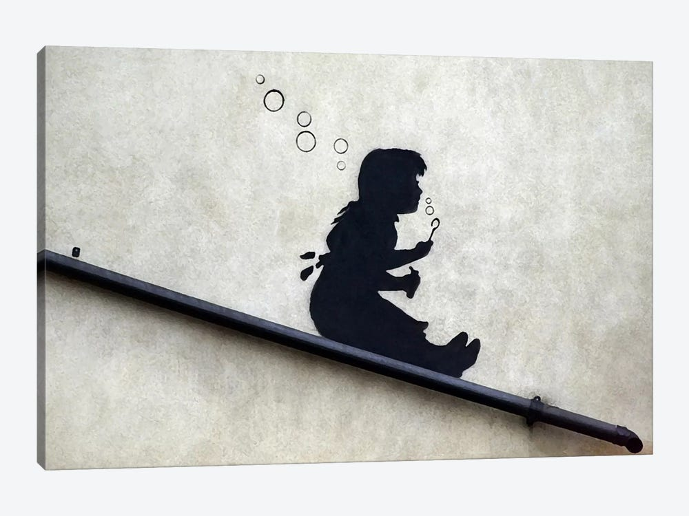 Bubble Girl by Unknown Artist 1-piece Canvas Artwork