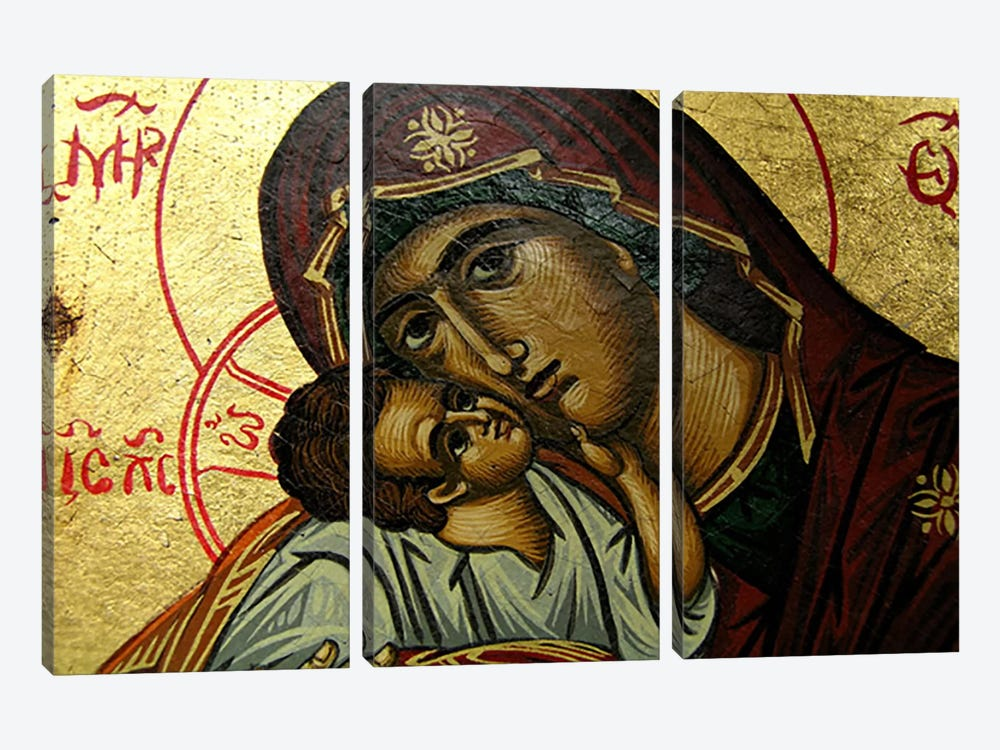 Christian Icon Virgin Mary 3-piece Canvas Art