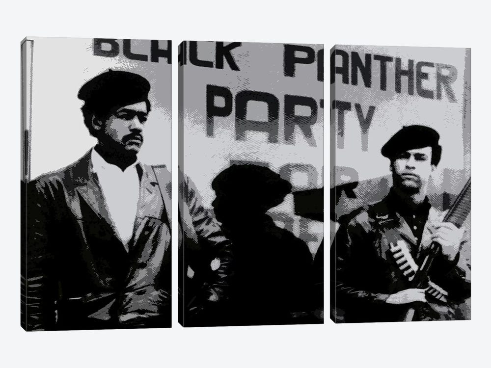 Black Panther Party by Unknown Artist 3-piece Canvas Print