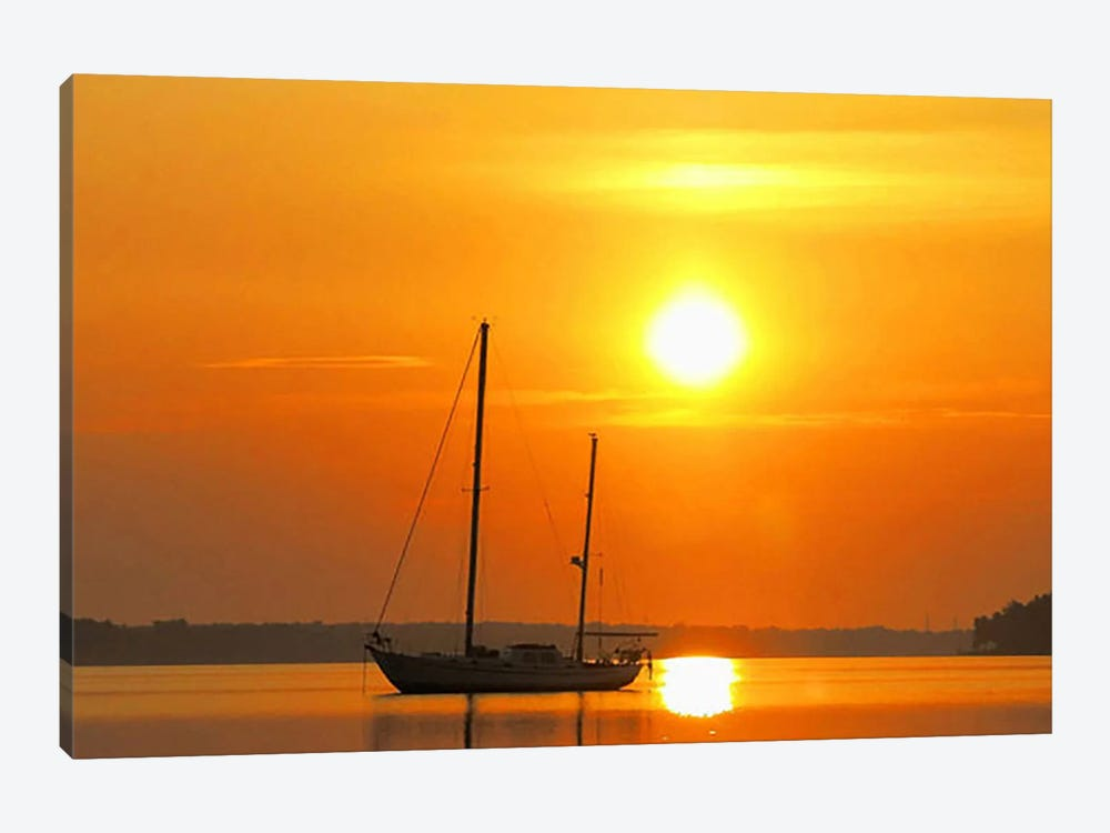 Sunrise Sail Boat by Unknown Artist 1-piece Canvas Art