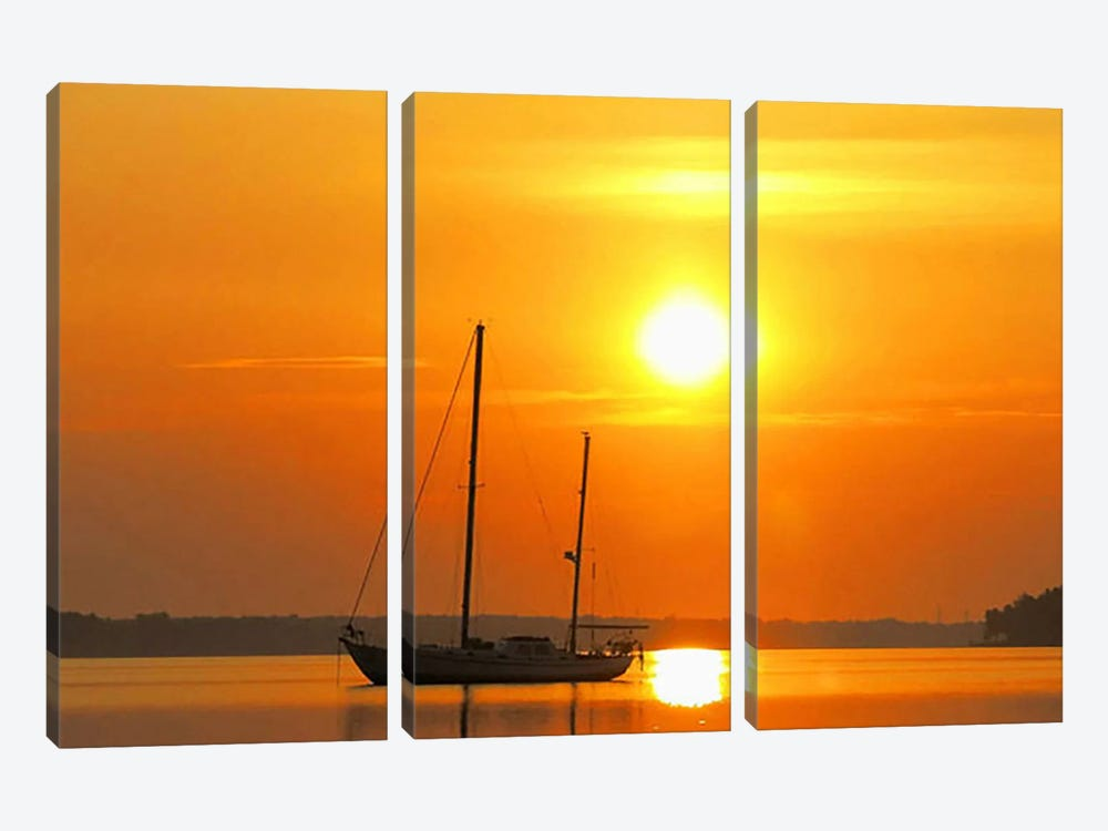 Sunrise Sail Boat by Unknown Artist 3-piece Canvas Art