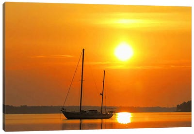 Sunrise Sail Boat Canvas Art Print