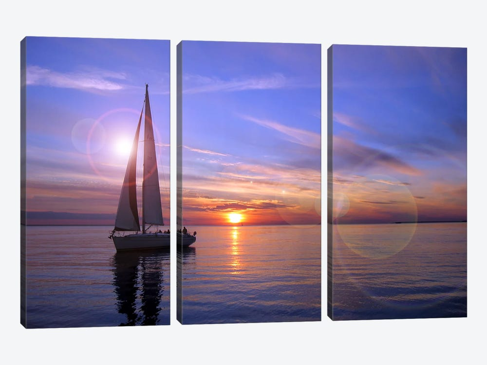 Sailboat by Unknown Artist 3-piece Canvas Print