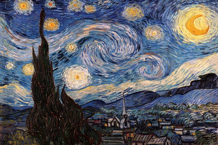 The Starry Night Canvas Wall Art by Vincent van Gogh   iCanvas