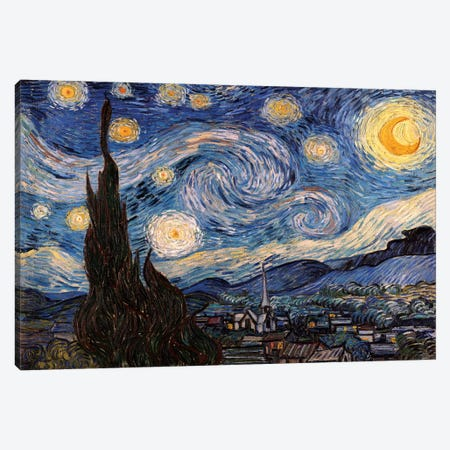 The Starry Night Canvas Print #300} by Vincent van Gogh Canvas Art Print