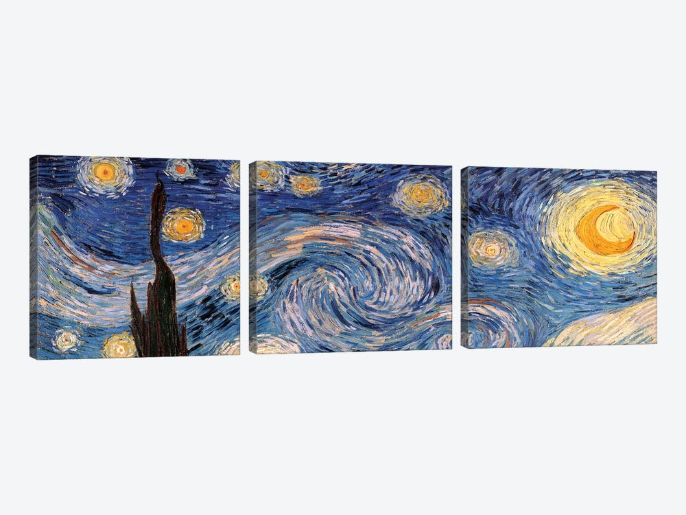 The Starry Night by Vincent van Gogh 3-piece Canvas Print
