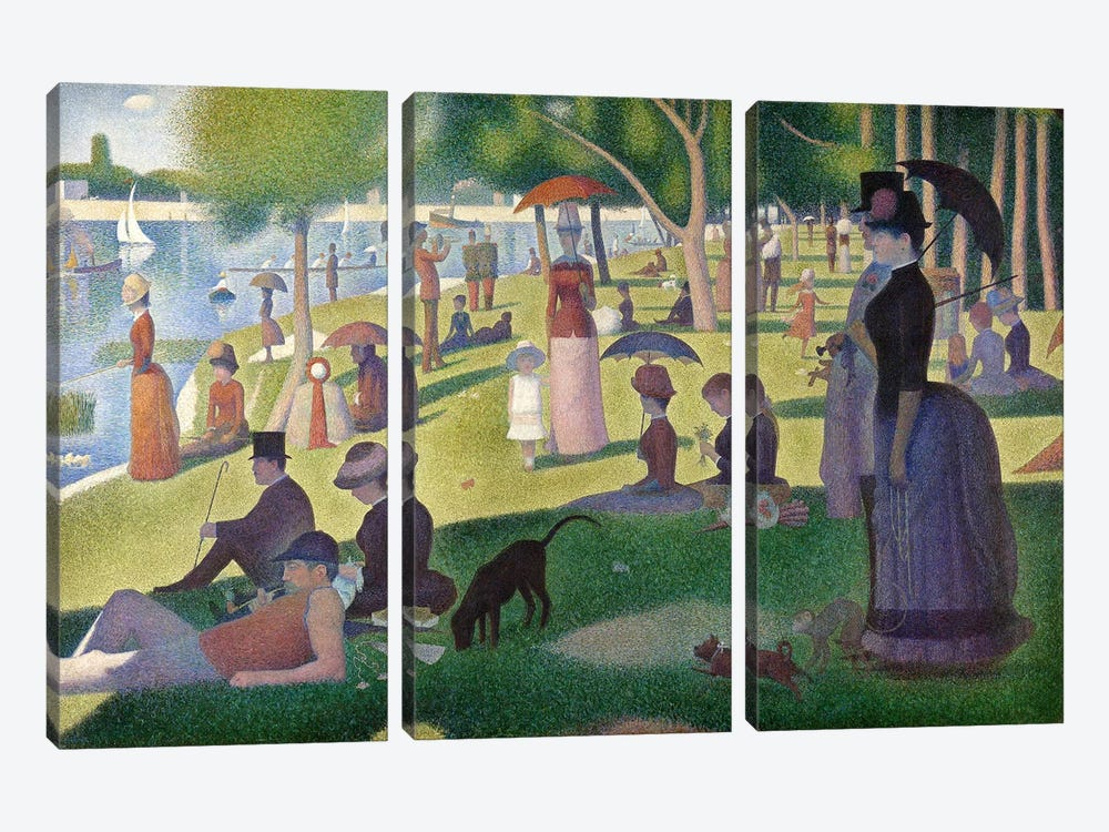 Sunday Afternoon on the Island of La Grande Jatte 3-piece Canvas Art
