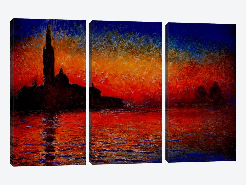 Sunset in Venice by Claude Monet 3-piece Canvas Print