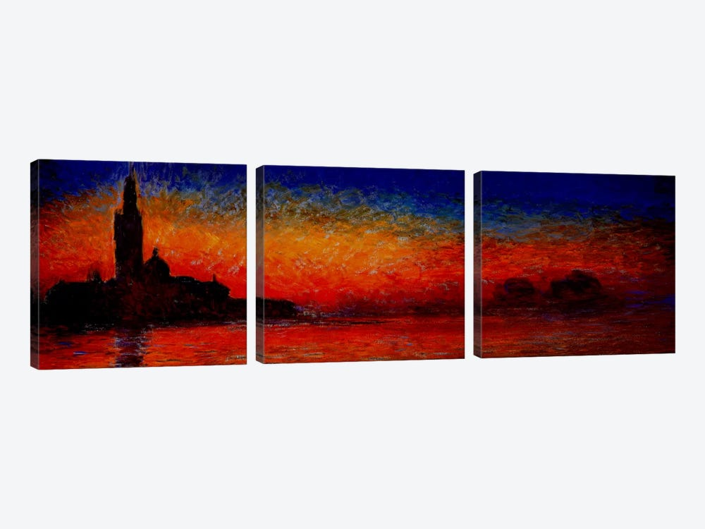 Sunset in Venice by Claude Monet 3-piece Canvas Art Print