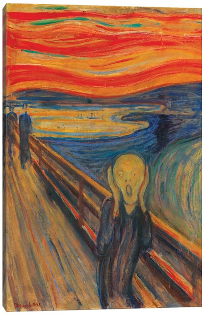 The Scream, 1893 (Oil, Tempera & Pastel On Cardboard) Canvas Art Print