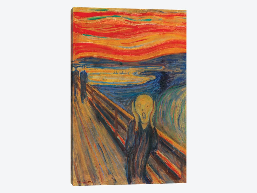 The Scream, 1893 (Oil, Tempera & Pastel On Cardboard) by Edvard Munch 1-piece Canvas Wall Art
