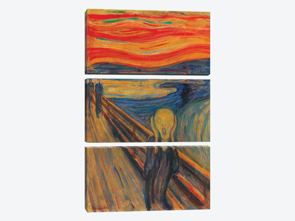 The Scream, 1893 (Oil, Tempera & Pastel On Cardboard) by Edvard Munch 3-piece Canvas Wall Art