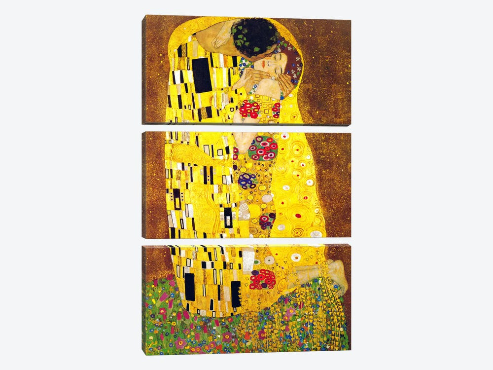 The Kiss by Gustav Klimt 3-piece Canvas Print