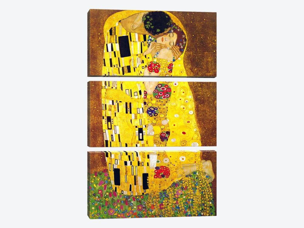 The Kiss by Gustav Klimt 3-piece Canvas Print