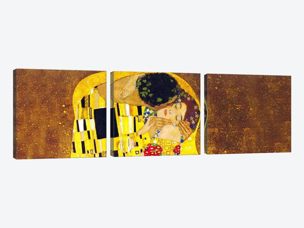 The Kiss by Gustav Klimt 3-piece Canvas Art Print