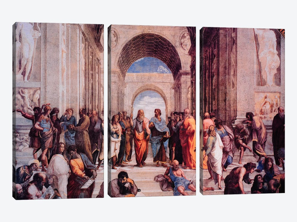 School of Athens by Raphael 3-piece Canvas Print