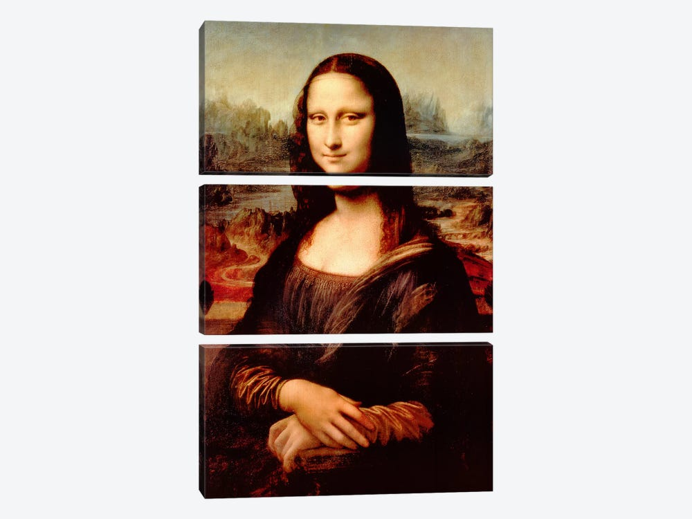 Mona Lisa by Leonardo da Vinci 3-piece Canvas Wall Art
