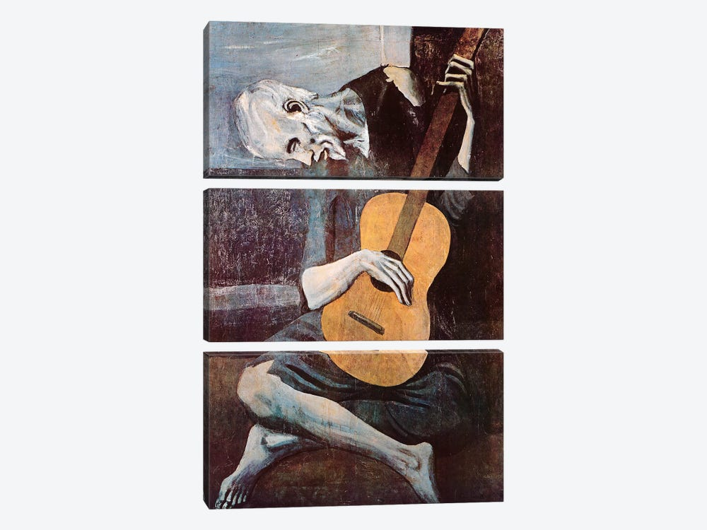 The Old Guitarist by Pablo Picasso 3-piece Canvas Print