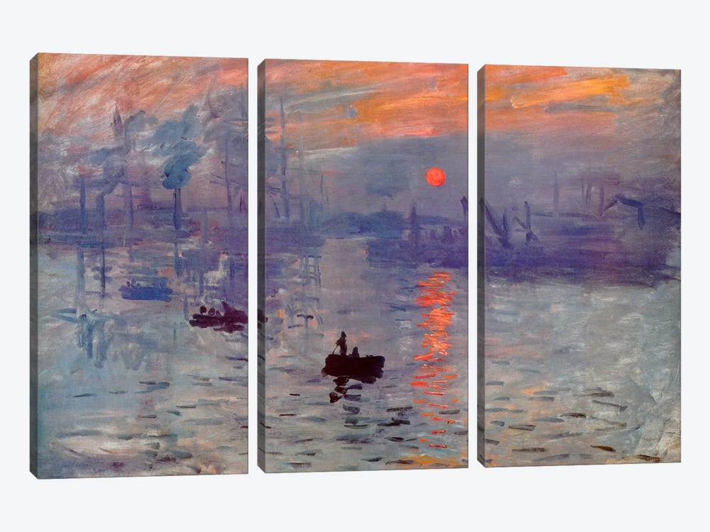 Sunrise Impression by Claude Monet 3-piece Canvas Artwork
