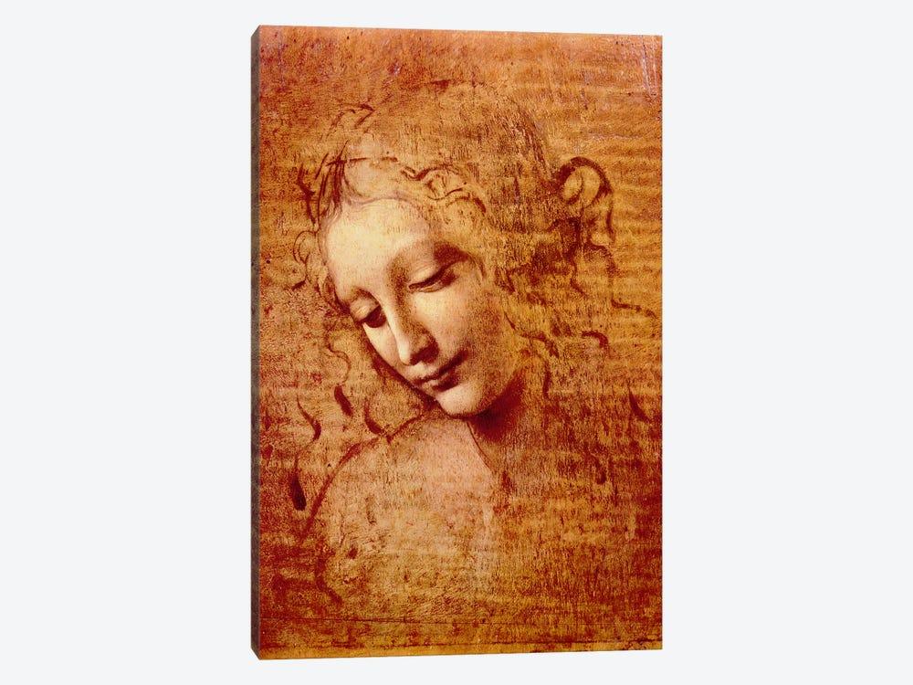 Female Head by Leonardo da Vinci 1-piece Canvas Art Print