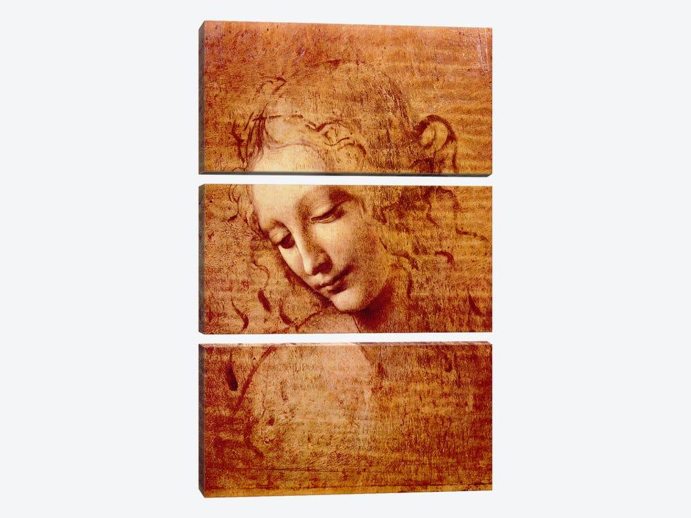 Female Head by Leonardo da Vinci 3-piece Canvas Print