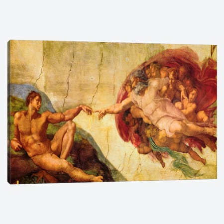 Creation Of Adam Canvas Print #318} by Michelangelo Canvas Wall Art