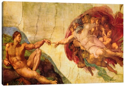 Creation Of Adam by Michelangelo Canvas Wall Art