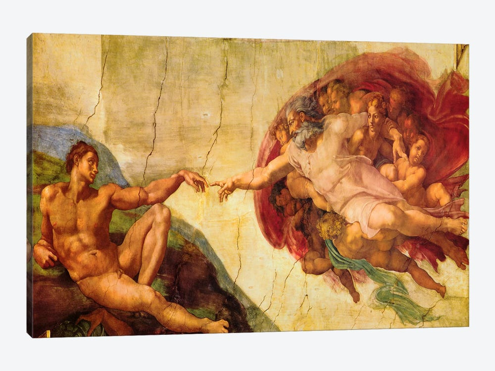 Creation Of Adam by Michelangelo 1-piece Canvas Wall Art