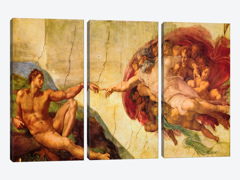 Creation Of Adam by Michelangelo 3-piece Canvas Wall Art
