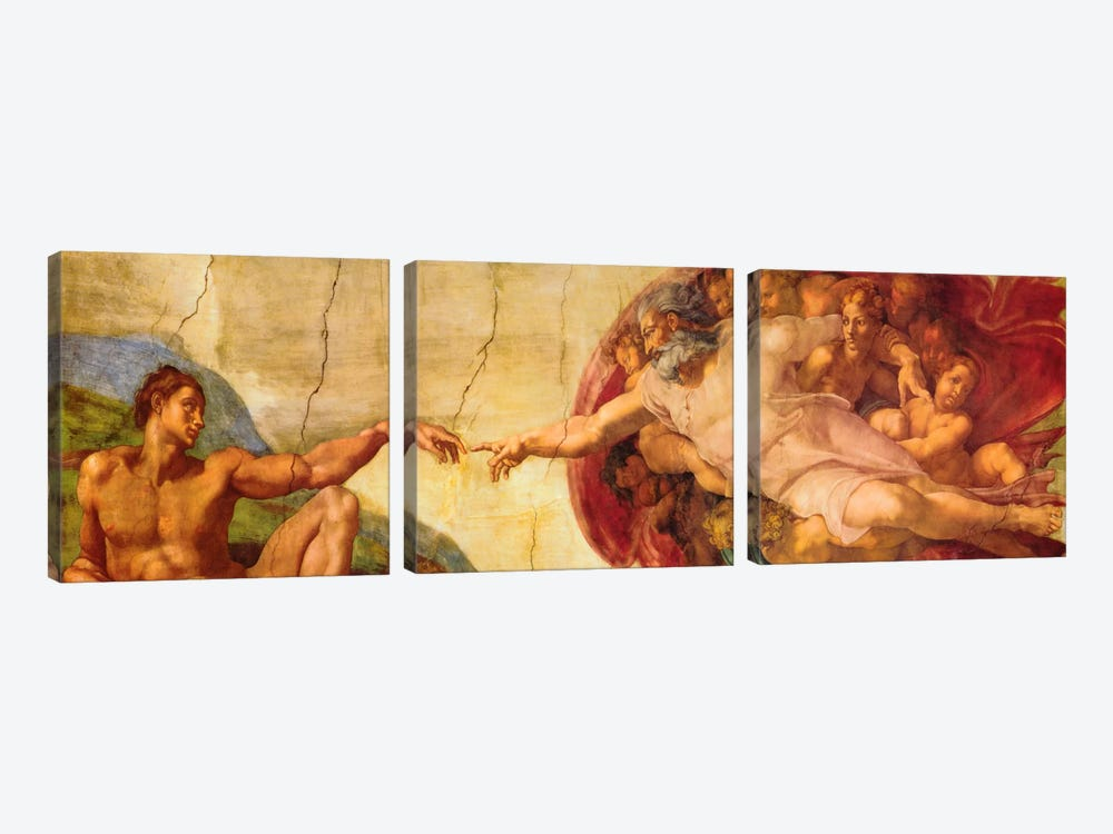 Creation of Adam by Michelangelo 3-piece Art Print