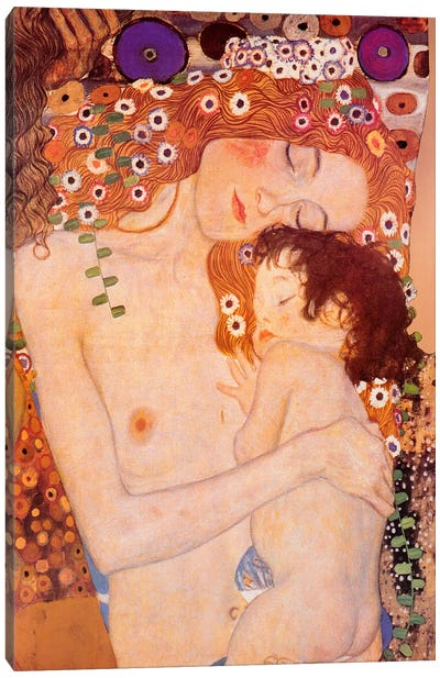 Mother And Child by Gustav Klimt Canvas Art Print