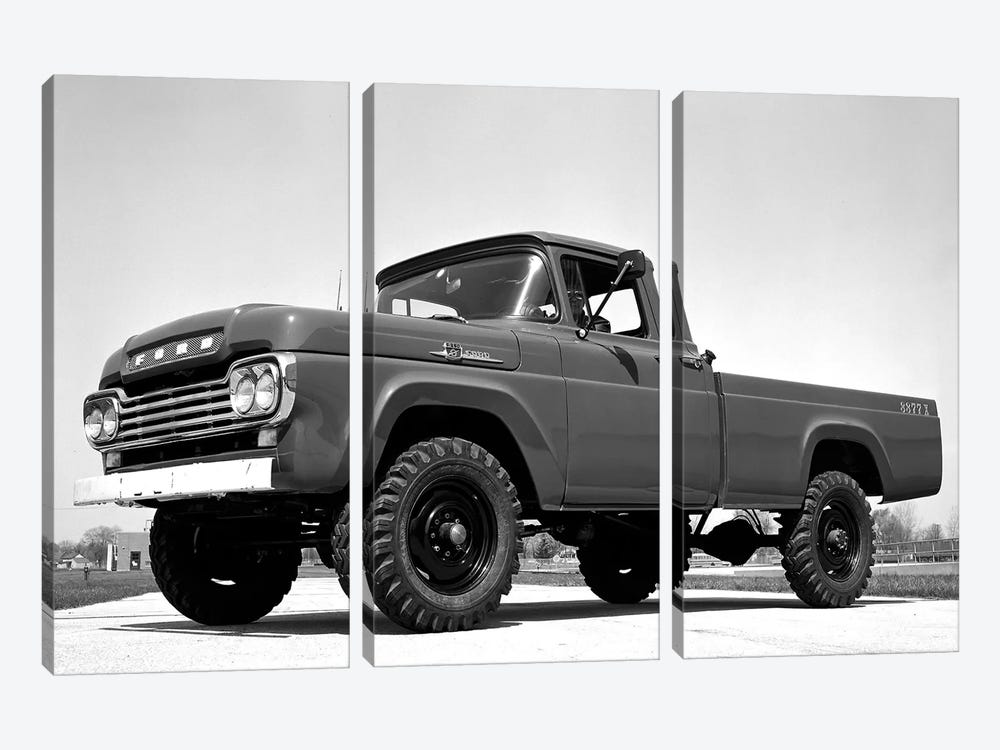 1959 Ford F-250 4x4 by Unknown Artist 3-piece Canvas Art Print