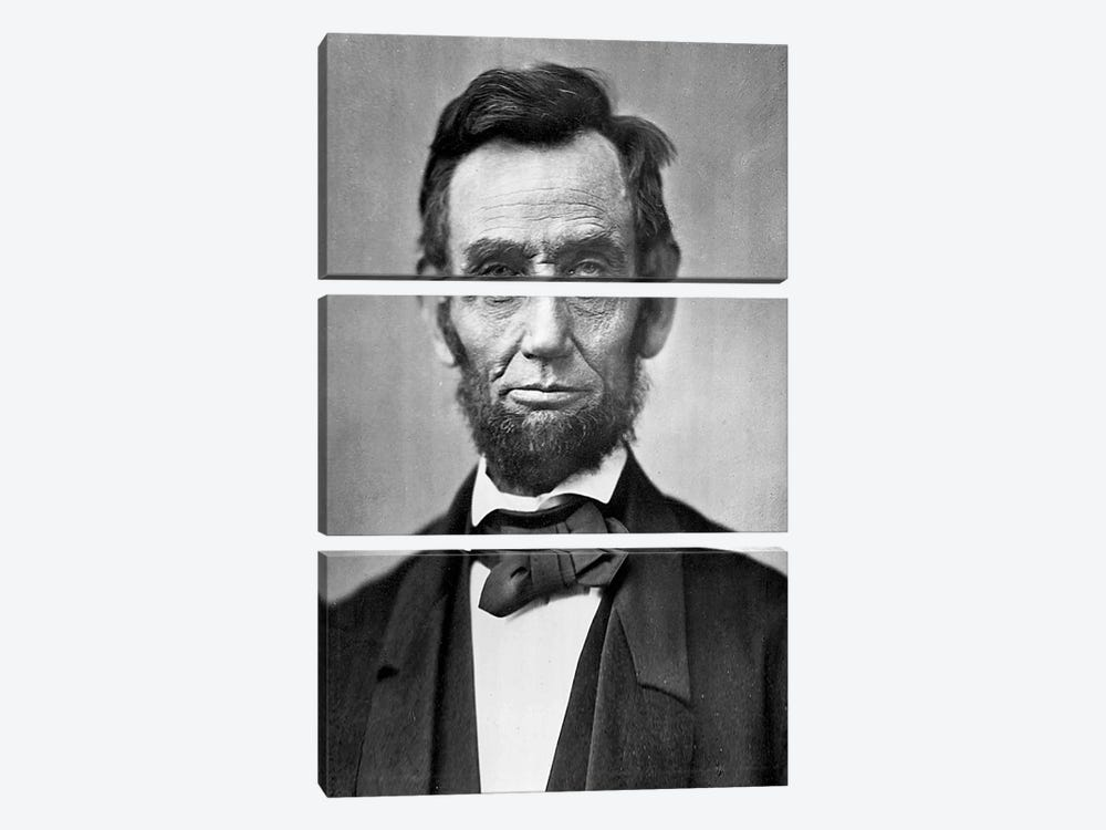Abraham Lincoln Portrait by Unknown Artist 3-piece Canvas Wall Art
