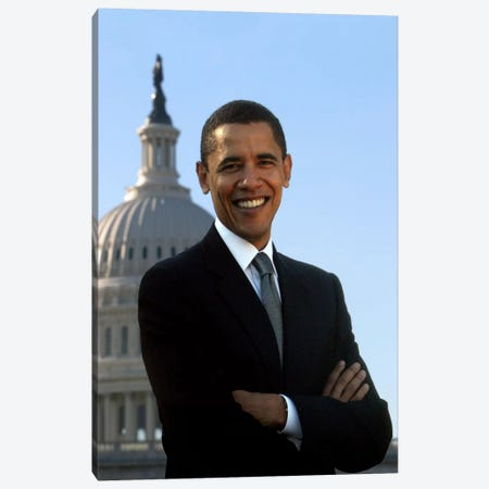 Barack Obama Portrait White House Canvas Print #3604} Canvas Wall Art